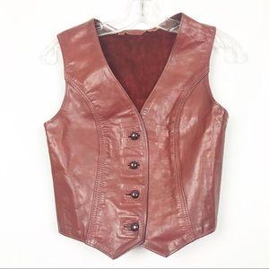 Vintage Leather Burgundy Vest